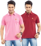 Passport Solid Men's Polo Neck Pink, Mar...