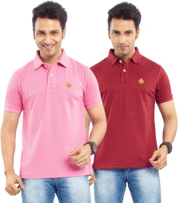 Passport Solid Men's Polo Neck Pink, Maroon T-Shirt