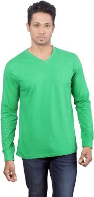 Oviyon Solid Men's V-neck Green T-Shirt