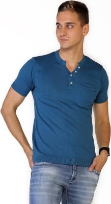 Globus Solid Men's Henley Blue T-Shirt