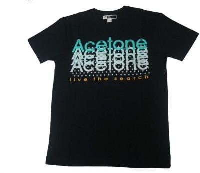 Acetone Solid Men's Round Neck Black T-Shirt