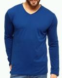 Fashion Hunk Solid Men's V-neck Blue T-S...