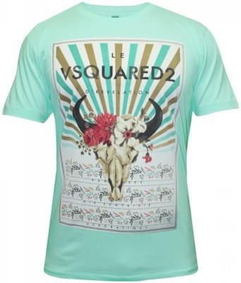 Hefty Graphic Print Men's Round Neck Light Blue T-Shirt