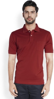 ColorPlus Solid Men's Polo Neck Red T-Shirt
