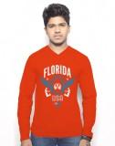 Hueman Printed Men's V-neck Red T-Shirt