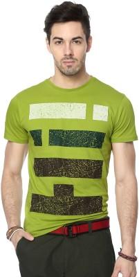People Printed Men's Round Neck Green T-Shirt
