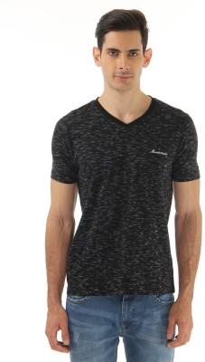 Monte Carlo Printed Men's V-neck Black T-Shirt