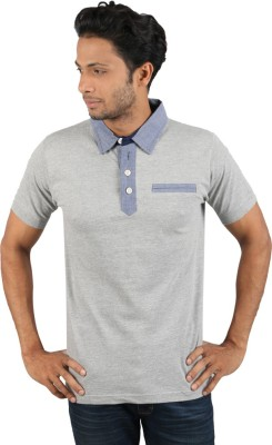 Molini Solid Men's Polo Neck Grey T-Shirt