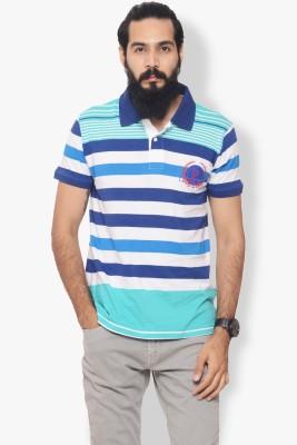 Italian Polo Striped Men's Polo Neck Blue T-Shirt