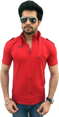 TEES COLLECTION Solid Men's Flap Collar Neck Red T-Shirt