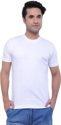 Moments Solid Men's Round Neck White T-Shirt