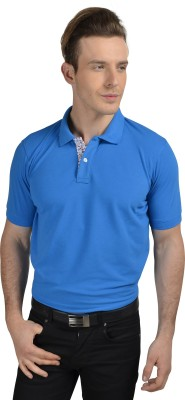 Pacific Time Solid Men's Polo Neck Dark Blue T-Shirt