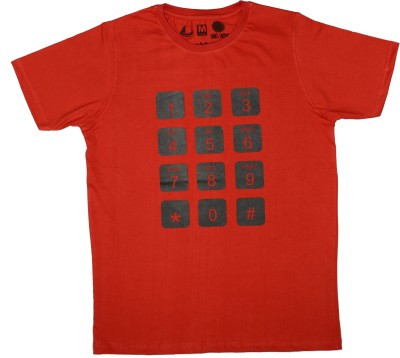 Udankhatola Printed Men's Round Neck Red T-Shirt