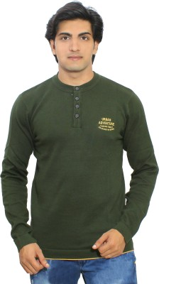 Thread Craft Solid Men's Henley Green T-Shirt
