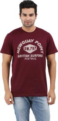 Donz Printed Men's Round Neck Maroon T-Shirt