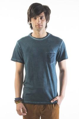 Srota Solid Men's Round Neck Blue T-Shirt