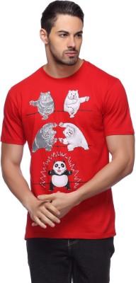 LLO Fashions Printed Men,s Round Neck Red T-Shirt