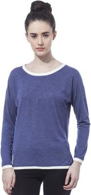 Besiva Solid Women's Round Neck Blue T-Shirt