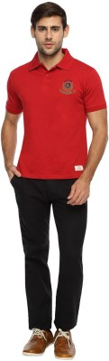 Derby Jeans Community Solid Men's Polo Neck Red T-Shirt