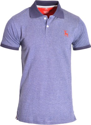 IND Classic Solid Men's Polo Neck Dark Blue T-Shirt