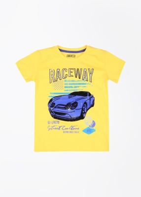 Gini & Jony Printed Boy's Round Neck Yellow T-Shirt