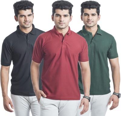 Bainsons Solid Men,s Polo Black, Green, Maroon T-Shirt