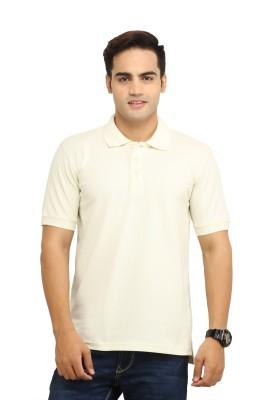 WallWest Solid Men's Polo Neck Beige T-Shirt