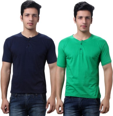 TeeMoods Solid Mens Henley Dark Blue, Green T-Shirt