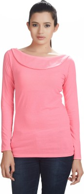Defossile Solid Women's Round Neck Pink T-Shirt