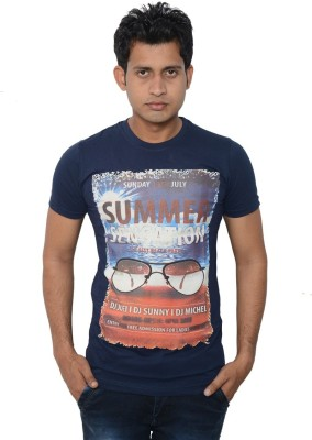 Lampara Graphic Print Men's Round Neck Blue T-Shirt