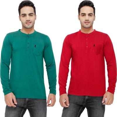 Eprilla Solid Men,s Henley Maroon, Green T-Shirt