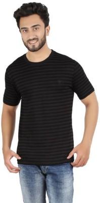 FAME FOREVER Striped Men's Round Neck Black T-Shirt