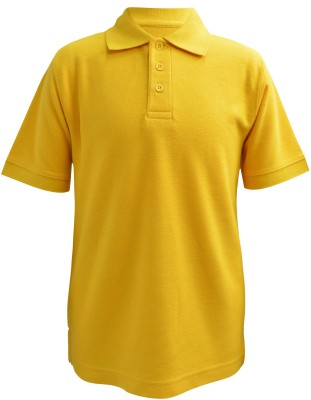Blueriver Solid Boy's Polo Neck Yellow T-Shirt