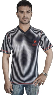 Linking Threads Striped Men's V-neck Black T-Shirt