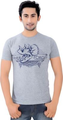 COTTON-RUSH Graphic Print Men's Round Neck Grey T-Shirt