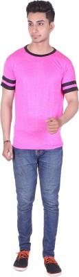Gag Wear Striped Men's Round Neck Pink T-Shirt