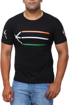 Yross Self Design Men's Polo Neck Black T-Shirt
