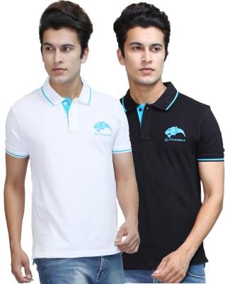 CATAMONT Solid Men's Polo Black, White T-Shirt
