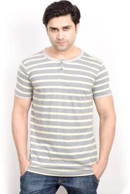 Pique Republic Striped Men's Round Neck Grey, Yellow T-Shirt