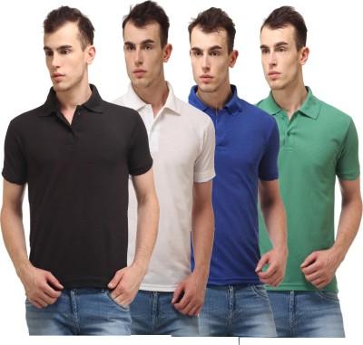 Lime Solid Men's Polo Neck Black, White, Blue, Green T-Shirt