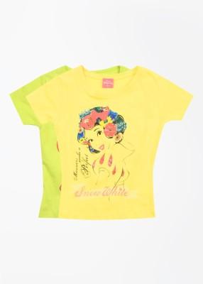 Cherish Printed Girl,s Round Neck Green, Yellow T-Shirt