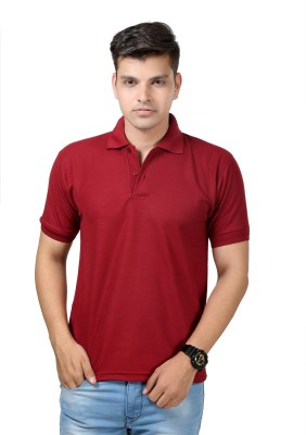 Etoffe Solid Men's Polo Maroon T-Shirt