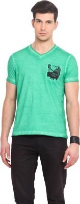 Smokestack Printed Men's V-neck Green T-Shirt