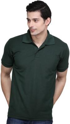 NE Solid Men's Polo Neck Dark Green T-Shirt