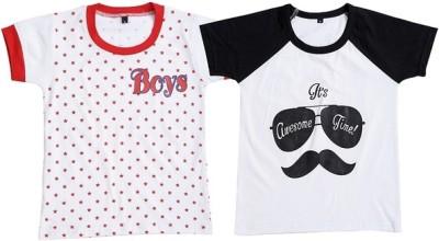 Be 13 Printed Boy,s Round Neck White T-Shirt