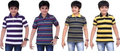 Dongli Striped Baby Boy's Polo Neck Purple, Blue, Black, Yellow T-Shirt