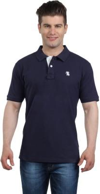 The Cotton Company Solid Men's Polo Neck Dark Blue T-Shirt