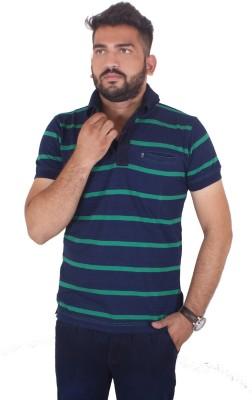 MjString Striped Men's Flap Collar Neck Green T-Shirt