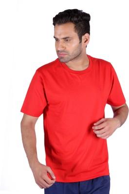 Humbert Solid Men's Round Neck Red T-Shirt