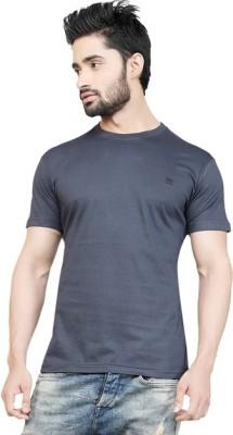 Afylish Solid Men's Round Neck Grey T-Shirt